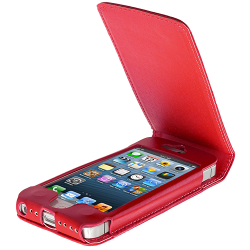 Apple iPhone 5/5S/SE Red Flip Wallet Pouch Case Cover