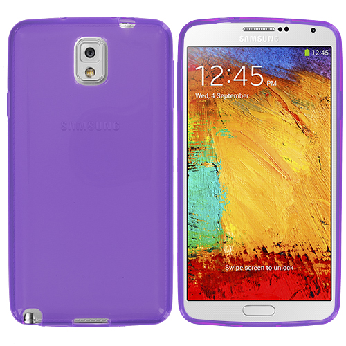 Samsung Galaxy Note 3 N9000 2 in 1 Combo Bundle Pack - Light Pink Purple TPU Rubber Skin Case Cover : Color Purple