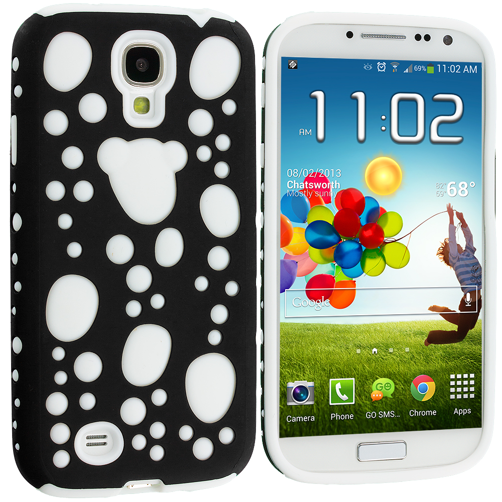 Samsung Galaxy S4 2 in 1 Combo Bundle Pack - Black / White Hybrid Bubble Hard/Soft Skin Case Cover : Color Black / White