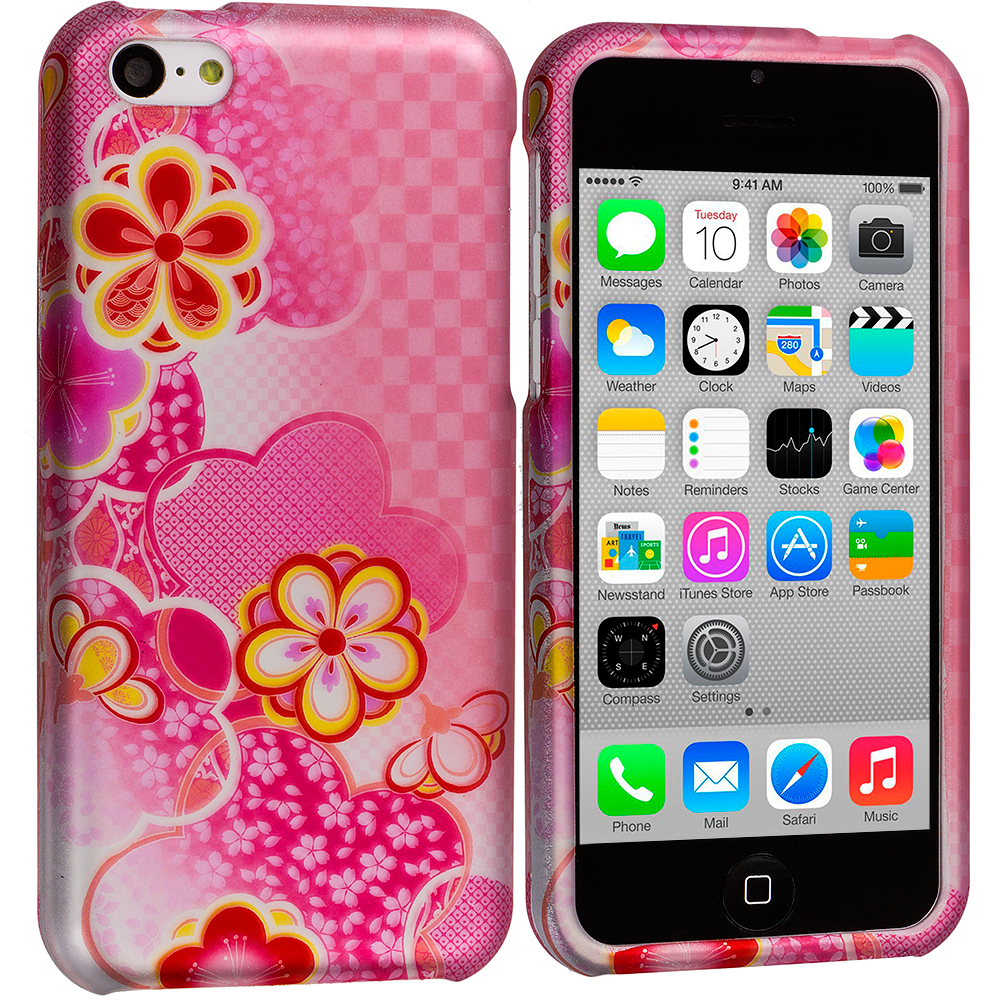 Apple iPhone 5C Hot Pink Fairy Tail Hard Rubberized Design Case Cover
