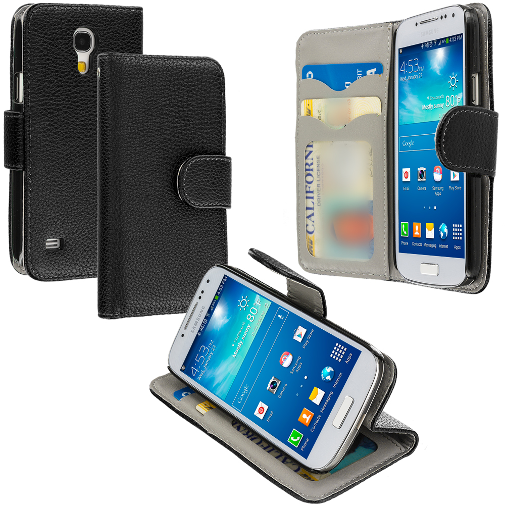Samsung Galaxy S4 Mini i9190 Black Leather Wallet Pouch Case Cover with Slots