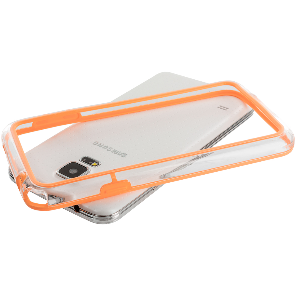 Samsung Galaxy S5 Orange / Clear TPU Bumper Frame Case Cover