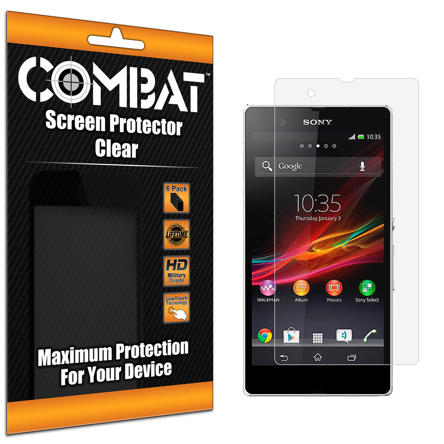 Sony Xperia Z Combat 6 Pack HD Clear Screen Protector