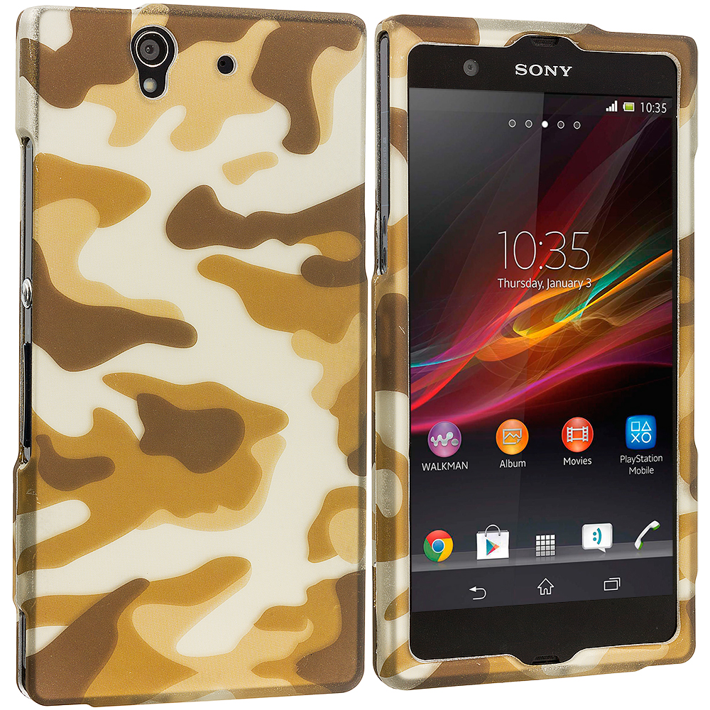 Sony Xperia Z Camo 2D Hard Rubberized Design Case Cover
