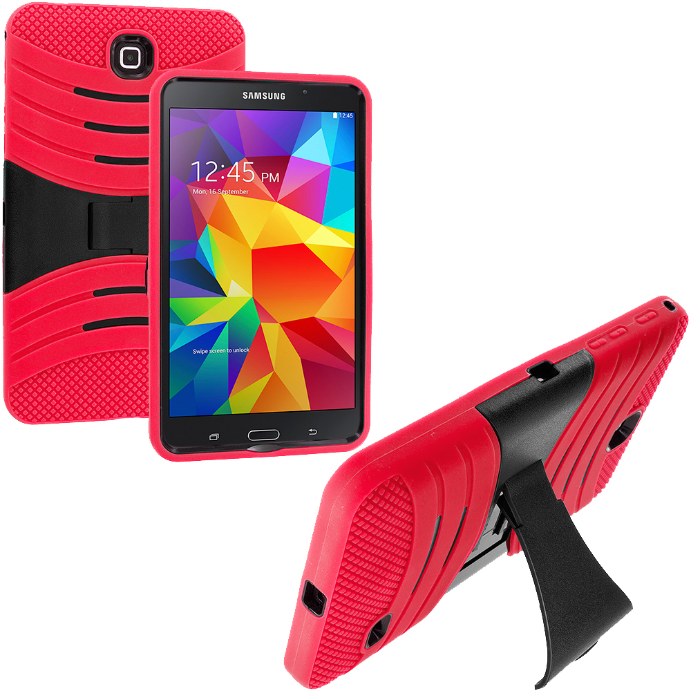 Samsung Galaxy Tab 4 7.0 Red / Black Hybrid Hard/Silicone Case Cover with Stand