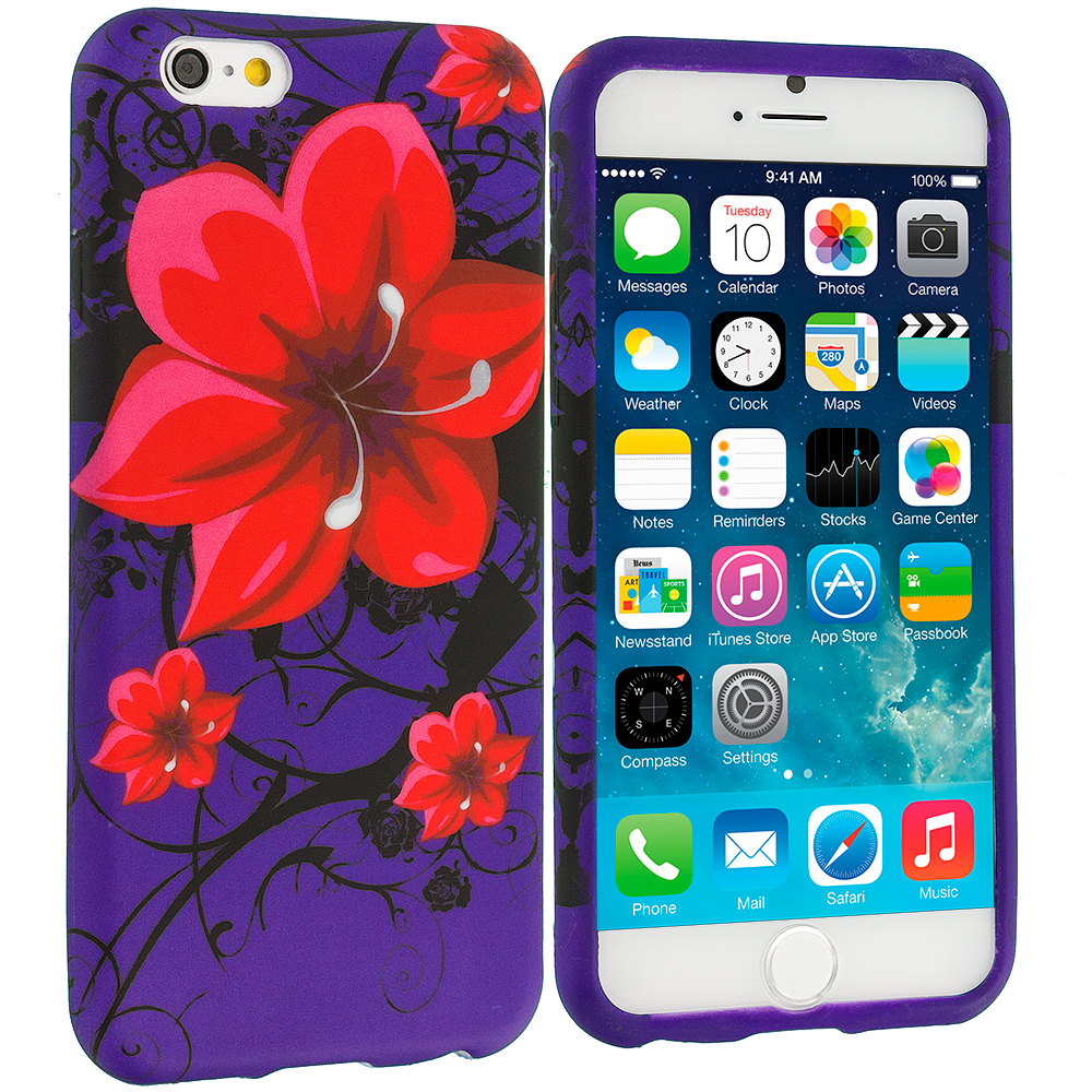Apple iPhone 6 Red Rose Purple TPU Design Soft Case Cover