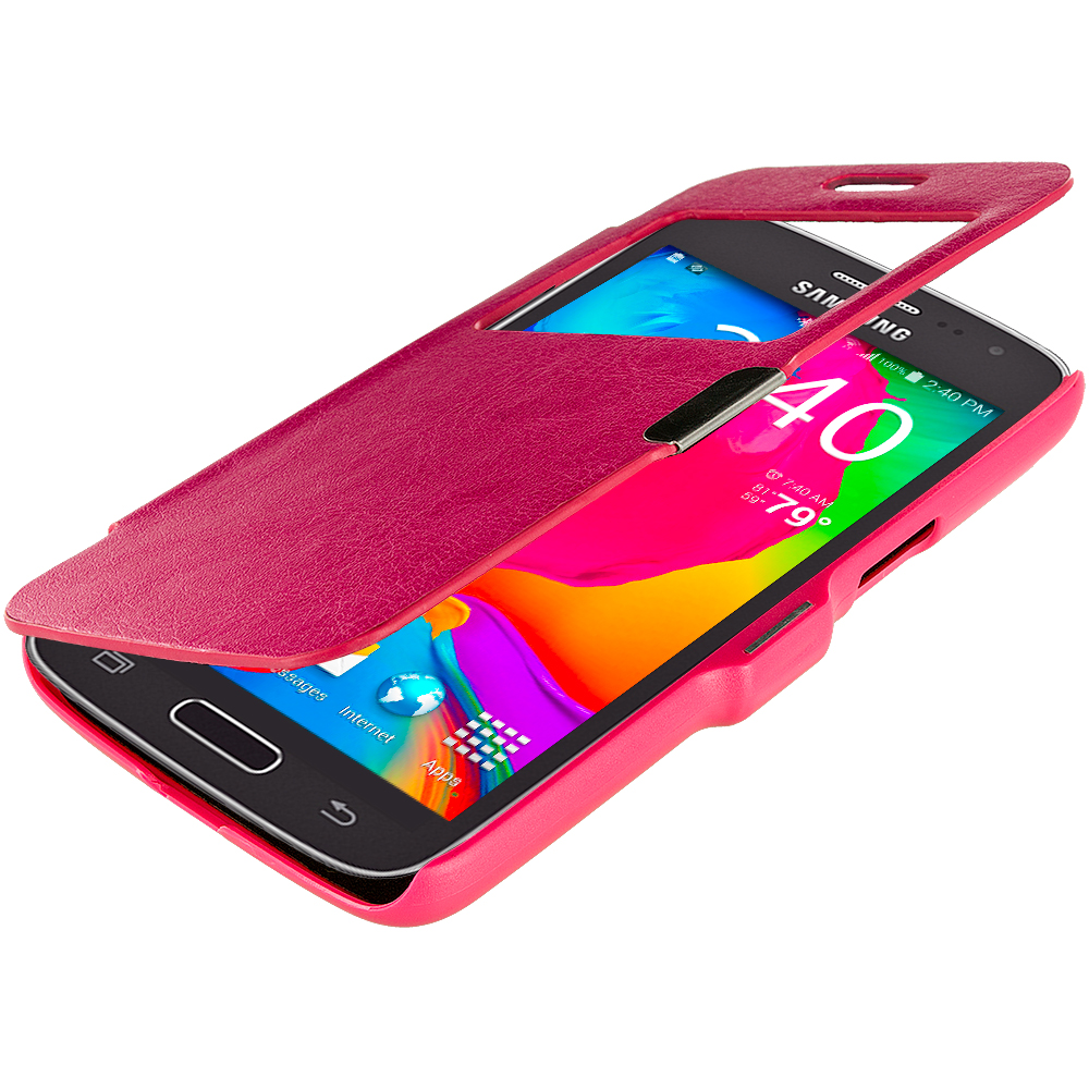 Samsung Galaxy Avant G386 Hot Pink (Open) Magnetic Flip Wallet Case Cover Pouch