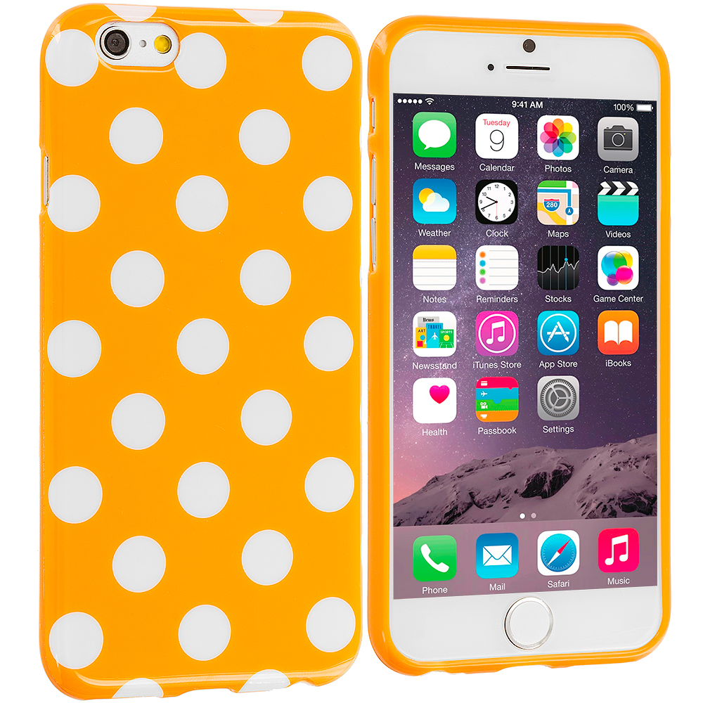 Apple iPhone 6 Plus 6S Plus (5.5) 4 in 1 Combo Bundle Pack - TPU Polka Dot Skin Case Cover : Color Orange / White