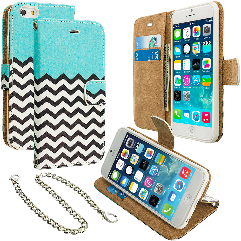 Apple iPhone 5/5S/SE Mint Green Zebra Leather Wallet Pouch Case Cover with Slots