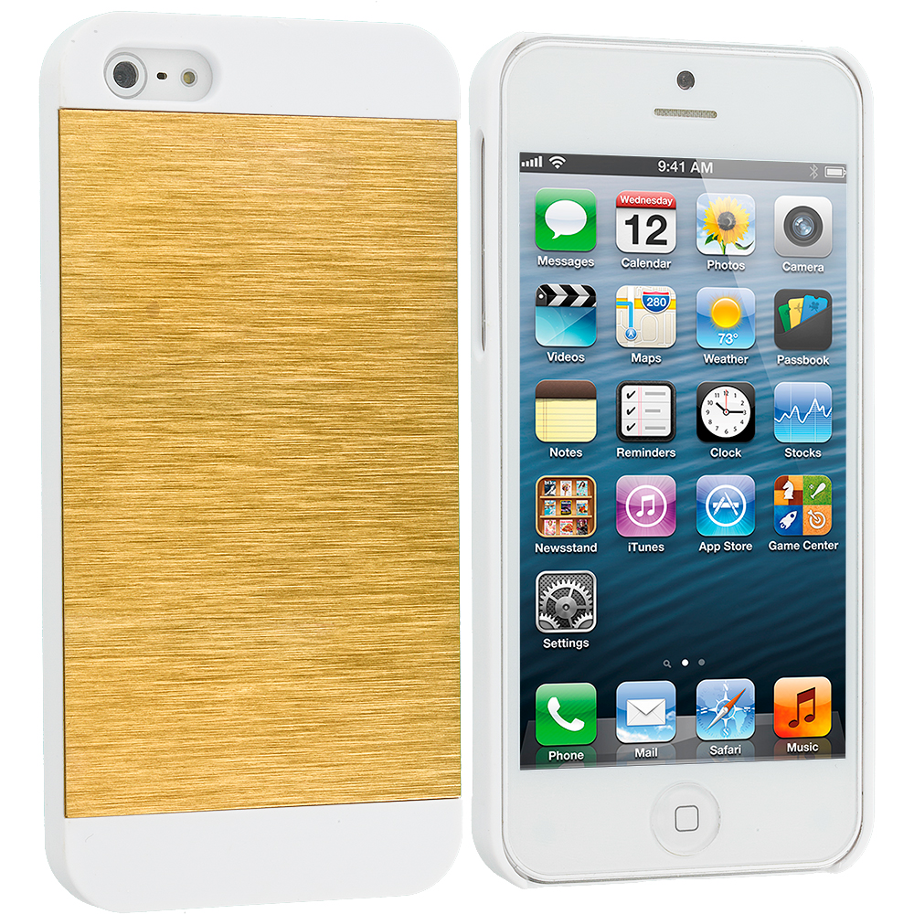 Apple iPhone 5/5S/SE Combo Pack : Black / White Hybrid Luxury Aluminum Hard Case Cover : Color Gold / White