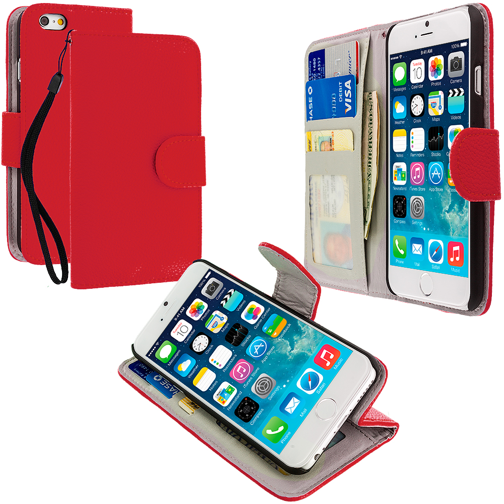 Apple iPhone 6 Plus 6S Plus (5.5) Red Leather Wallet Pouch Case Cover with Slots