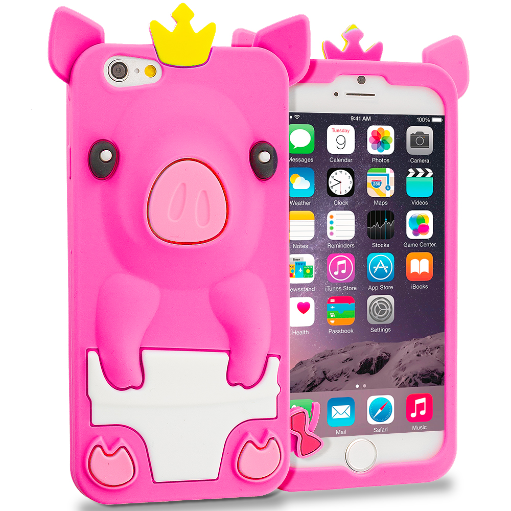 Apple iPhone 6 6S (4.7) Hot Pink Pig Silicone Design Soft Skin Case Cover