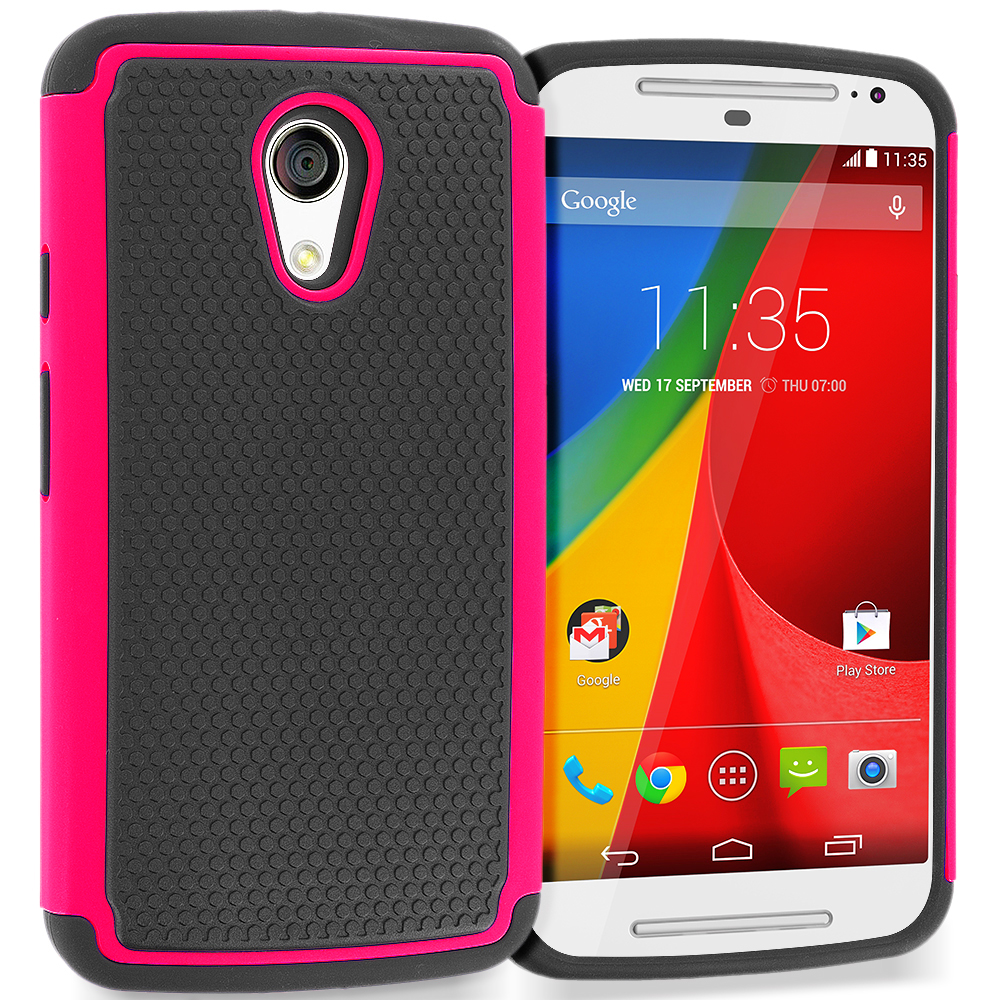 Motorola Moto G 2nd Gen 2014 Black / Hot Pink Hybrid Rugged Grip Shockproof Case Cover