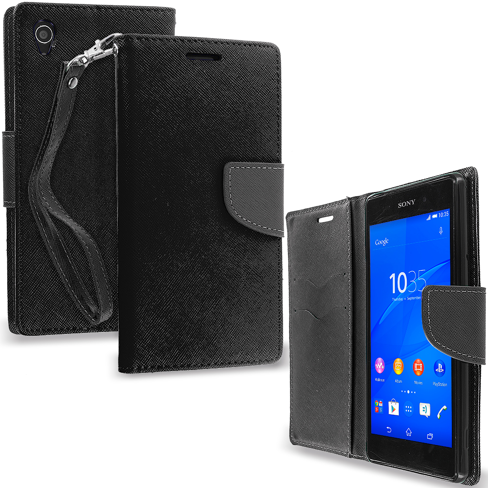 Sony Xperia Z3 Black / Black Leather Flip Wallet Pouch TPU Case Cover with ID Card Slots