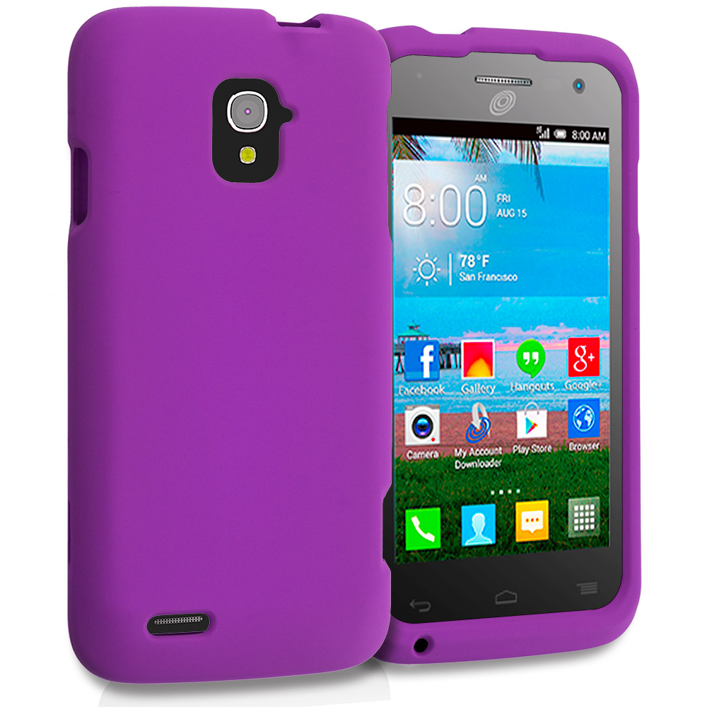 Alcatel One Touch Pop Star A845L Purple Hard Rubberized Case Cover