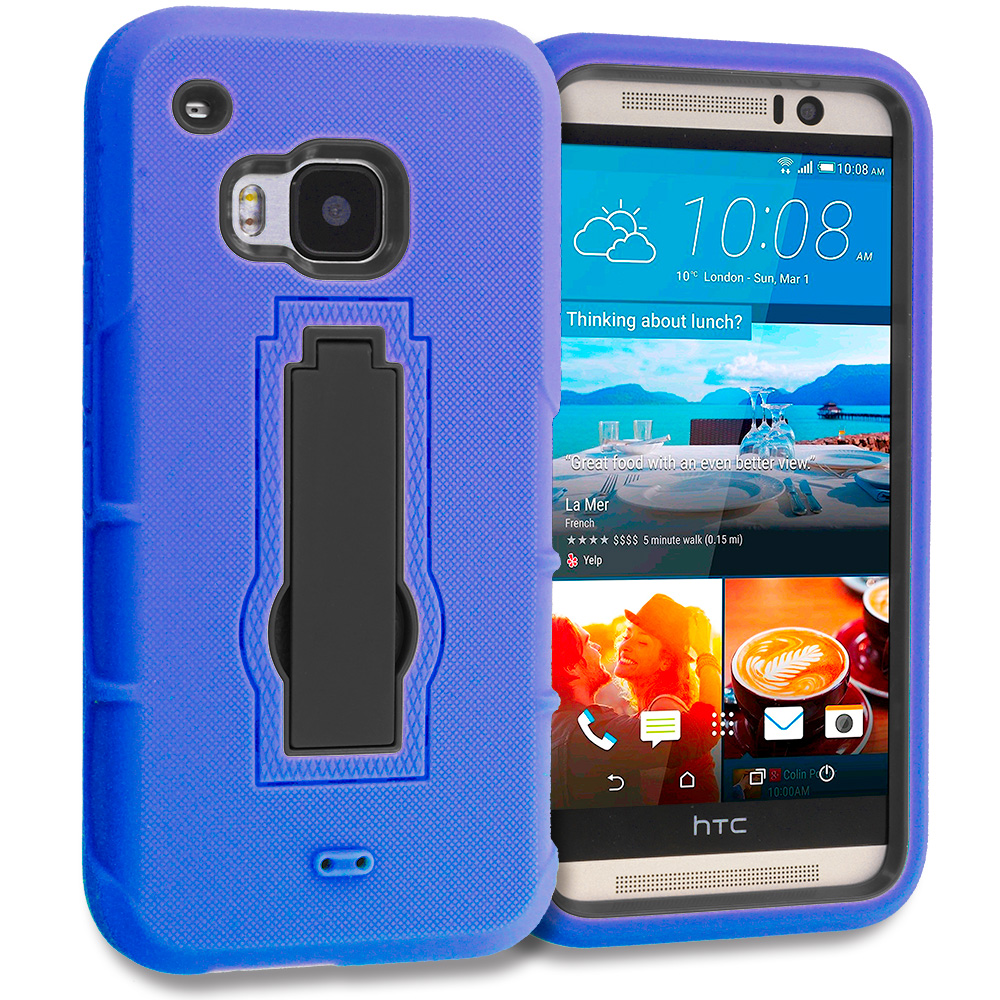 HTC One M9 Blue / Black Hybrid Heavy Duty Hard Soft Case Cover with Kickstand