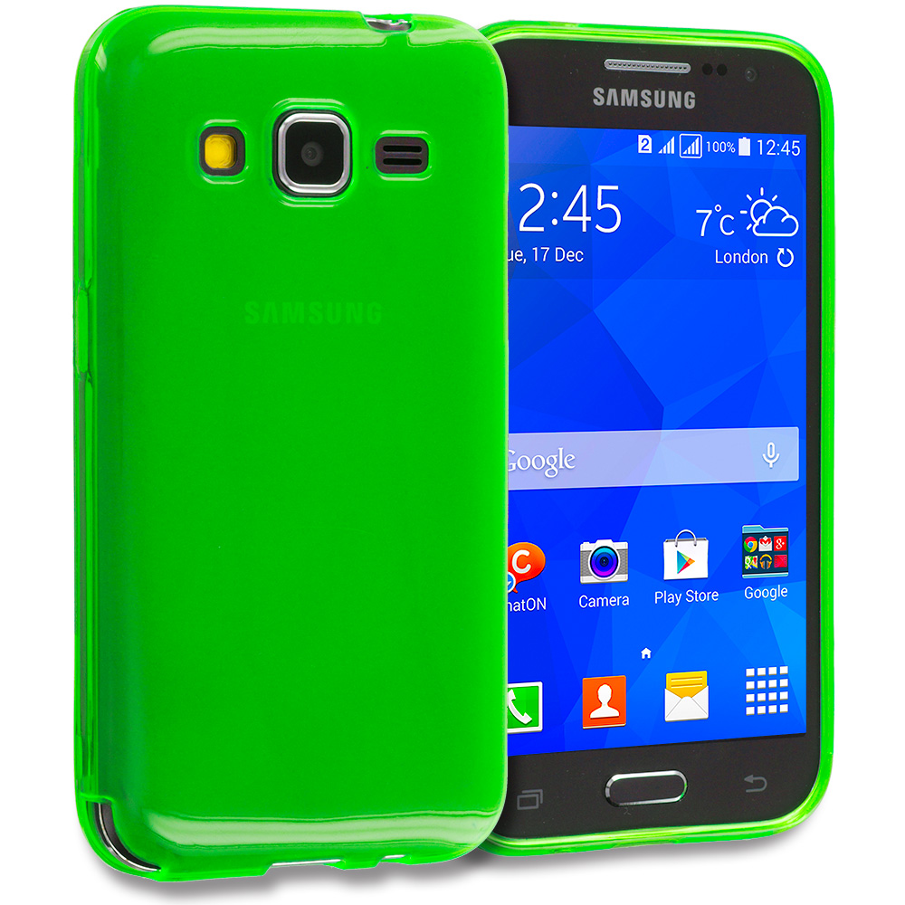 Samsung Galaxy Prevail LTE Core Prime G360P 2 in 1 Combo Bundle Pack - Clear TPU Rubber Skin Case Cover : Color Neon Green