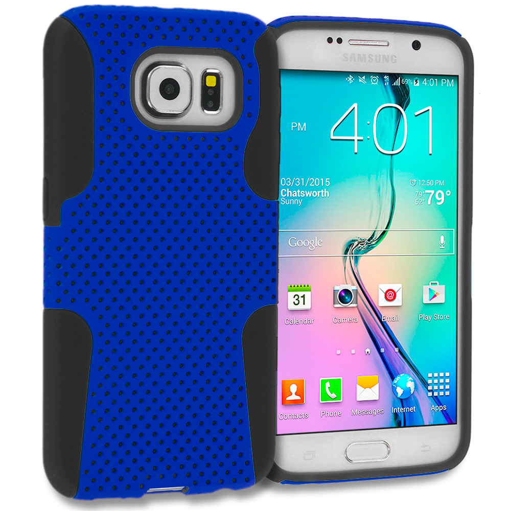 Samsung Galaxy S6 Combo Pack : Black / Blue Hybrid Mesh Hard/Soft Case Cover : Color Black / Blue