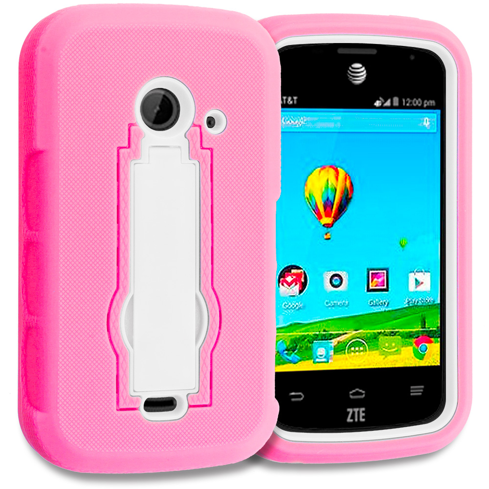 ZTE Zinger Prelude 2 Z667 Hot Pink / White Hybrid Heavy Duty Hard Soft Case Cover with Kickstand