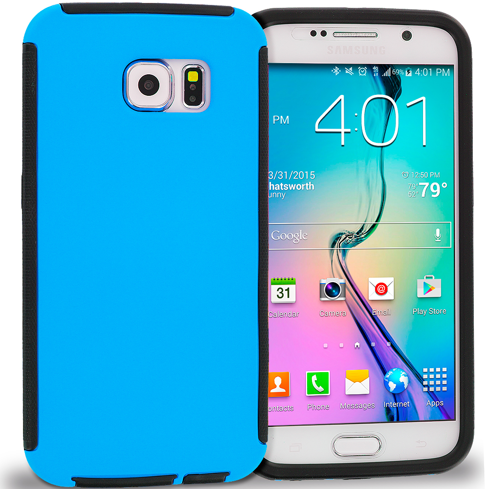 Samsung Galaxy S6 Black / Blue Hybrid Hard TPU Shockproof Case Cover With Built in Screen Protector