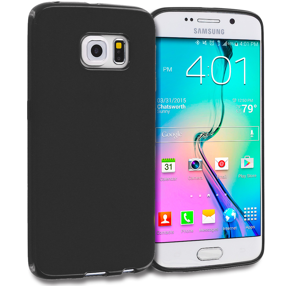 Samsung Galaxy S6 Edge 3 in 1 Combo Bundle Pack - S-Line TPU Rubber Skin Case Cover : Color Black Solid