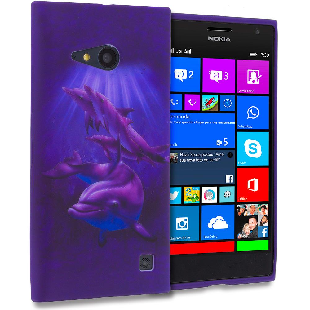 Nokia Lumia 730 735 Purple Dolphin TPU Design Soft Rubber Case Cover