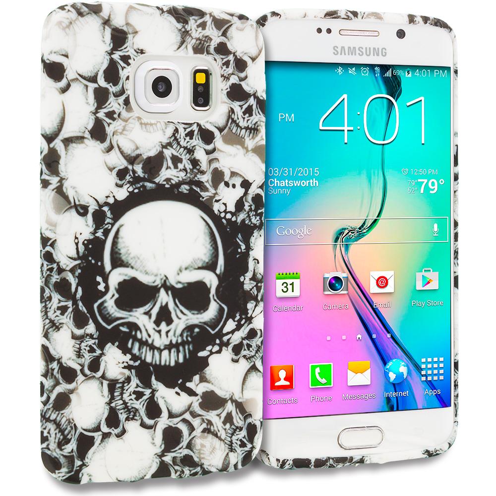 Samsung Galaxy S6 Edge Black White Skulls TPU Design Soft Rubber Case Cover