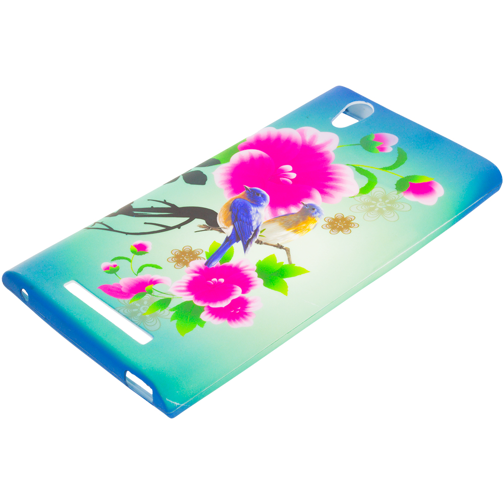 ZTE Zmax Blue Bird Pink Flower TPU Design Soft Rubber Case Cover