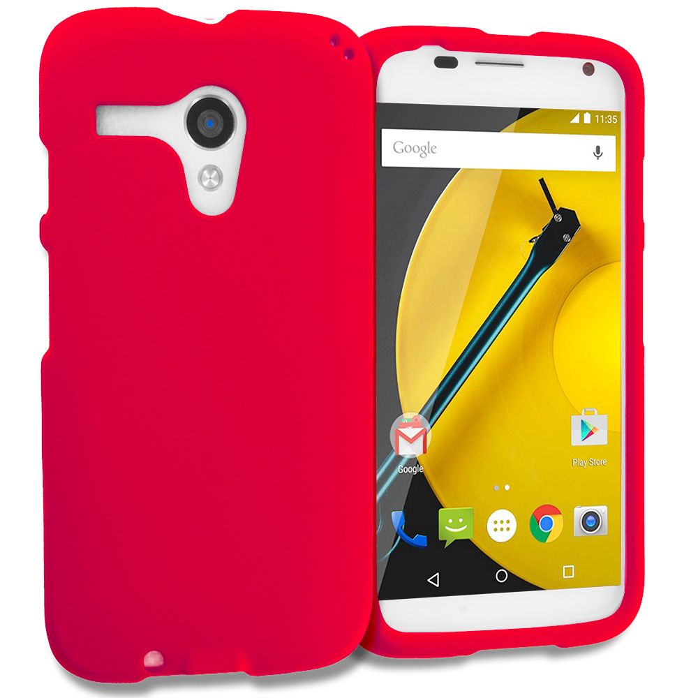 Motorola Moto E LTE 2nd Generation Red Hard Rubberized Case Cover