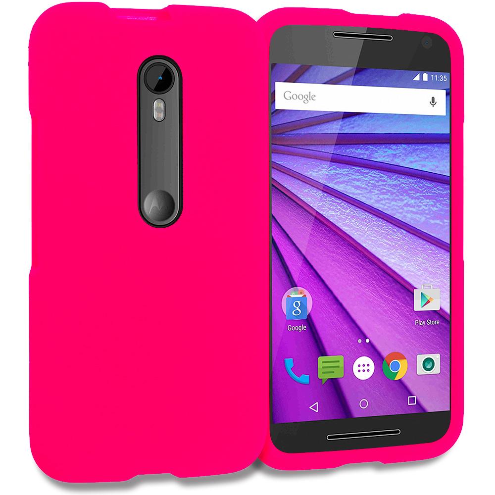 Motorola Moto G 3rd Gen 2015 Hot Pink Hard Rubberized Case Cover