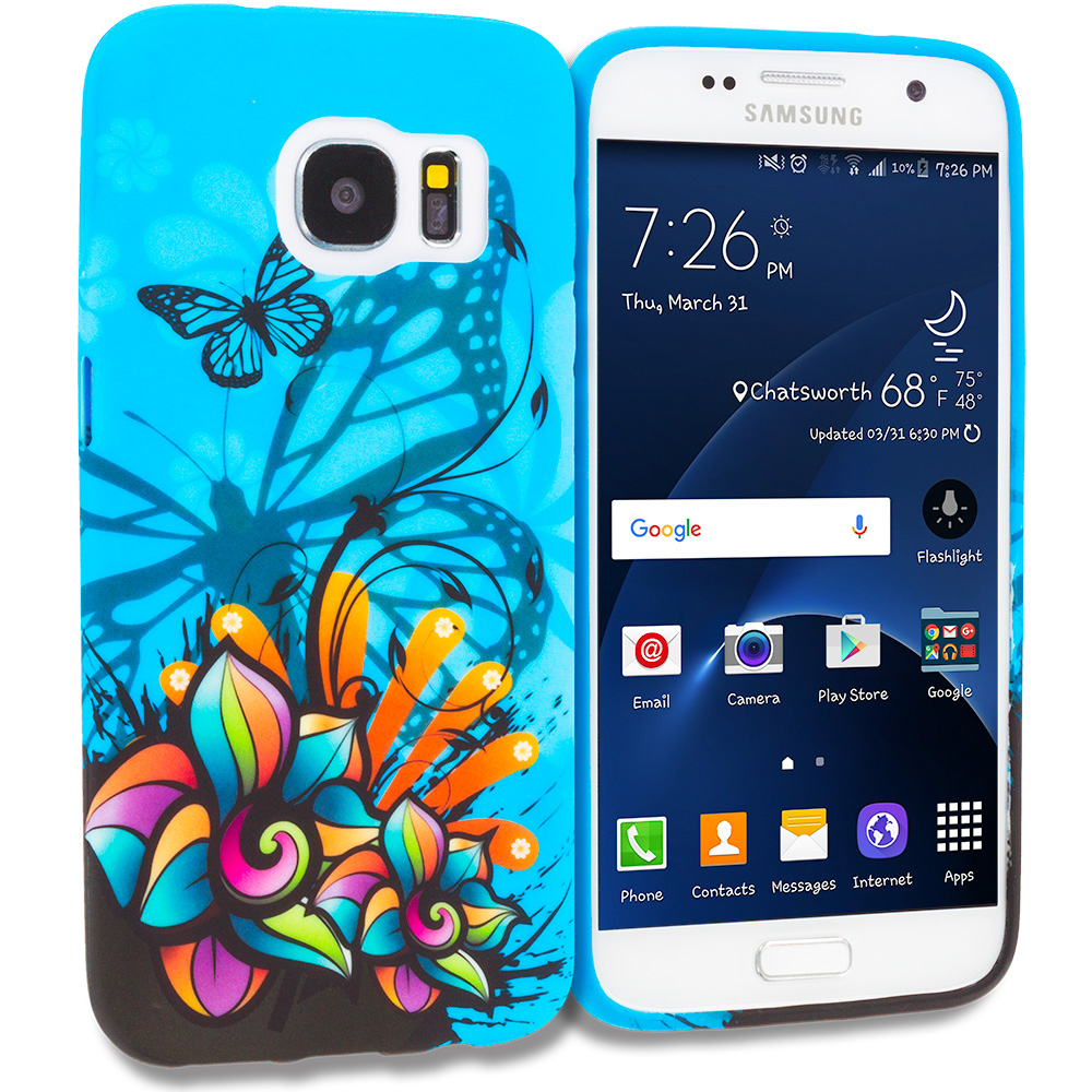 Samsung Galaxy S7 Combo Pack : Black Purple Butterfly TPU Design Soft Rubber Case Cover : Color Butterfly Flower on Blue