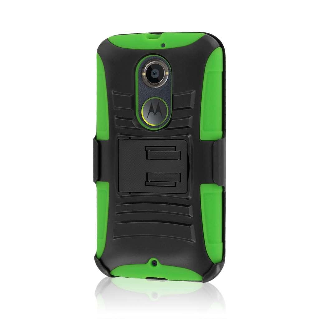 Motorola Moto X 2014 2nd Gen - Neon Green MPERO IMPACT XT - Kickstand Case