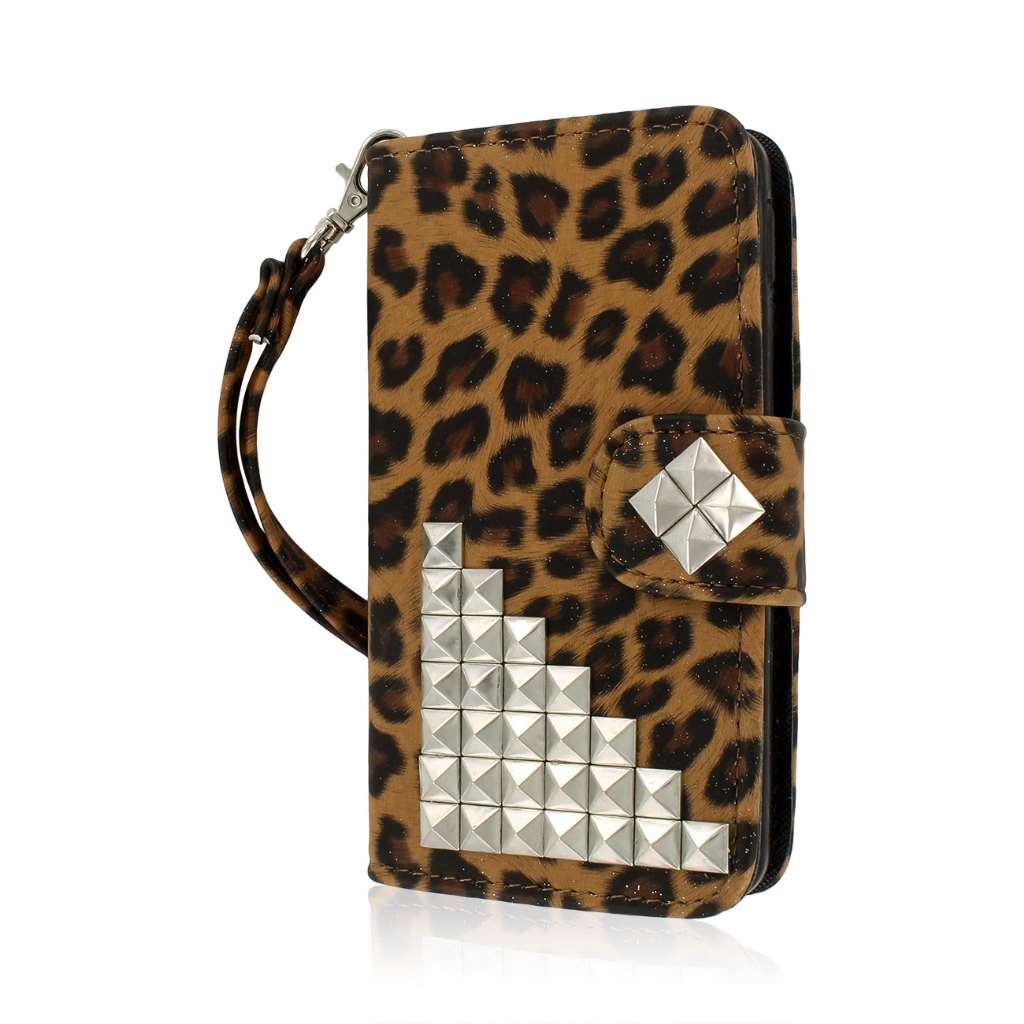 LG Optimus F6 - Studded Leopard MPERO FLEX FLIP Wallet Case Cover