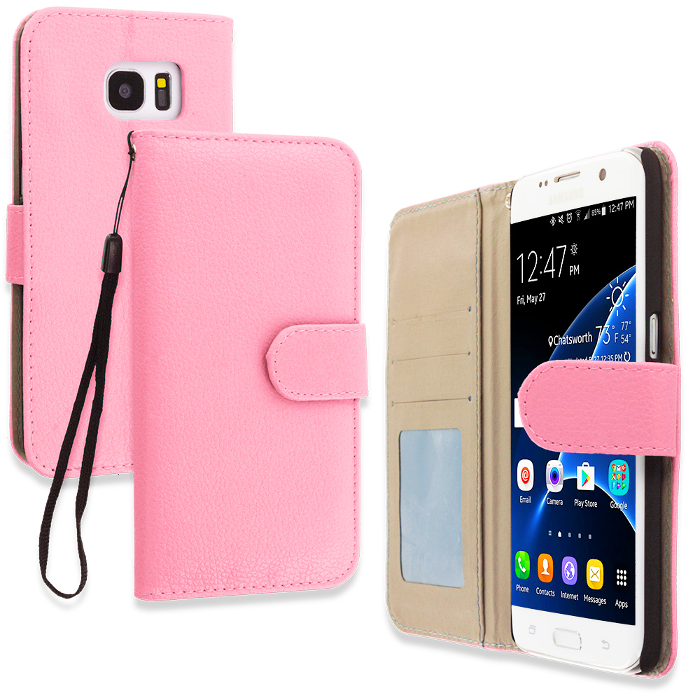 Samsung Galaxy S7 Edge Light Pink Leather Wallet Pouch Case Cover with Slots