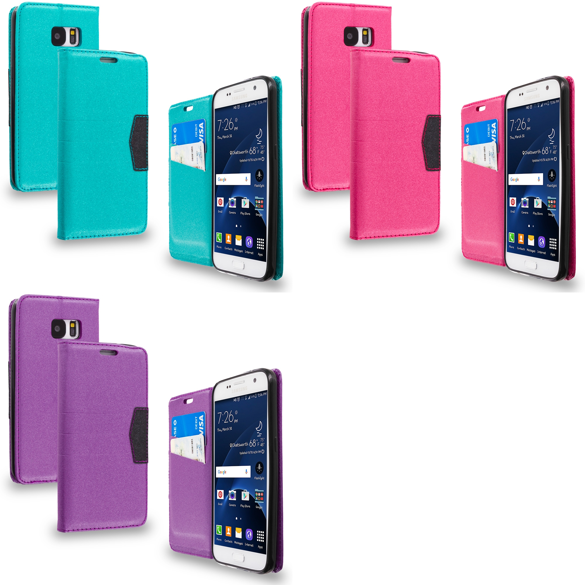 Samsung Galaxy S7 Combo Pack : Hot Pink Wallet Flip Leather Pouch Case Cover with ID Card Slots