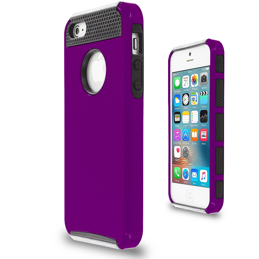 Apple iPhone 5/5S/SE Purple / Black Hybrid Hard TPU Honeycomb Rugged Case Cover