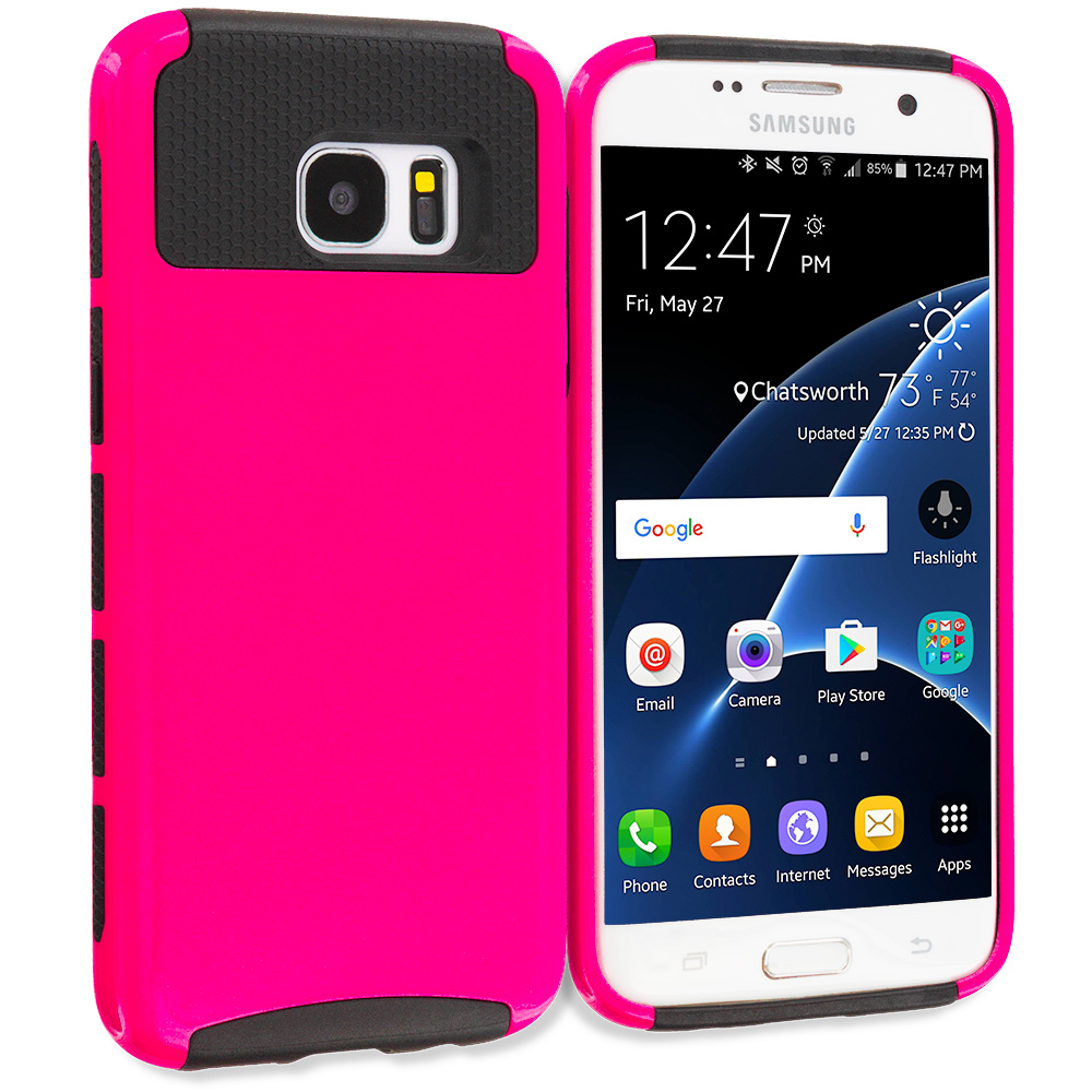 Samsung Galaxy S7 Edge Hot Pink / Black Hybrid Hard TPU Honeycomb Rugged Case Cover
