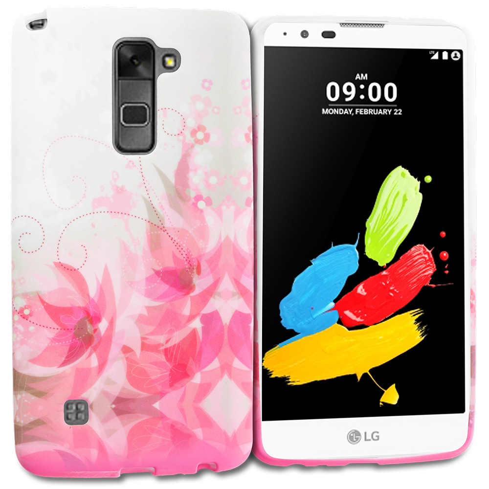 LG G Stylo 2 LS775 Flower With Red Leaf TPU Design Soft Rubber Case Cover