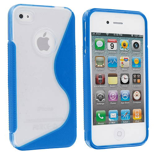 Apple iPhone 4 / 4S 2 in 1 Combo Bundle Pack - Clear / Red S-Line TPU Rubber Skin Case Cover : Color Clear / Light Blue S-Line