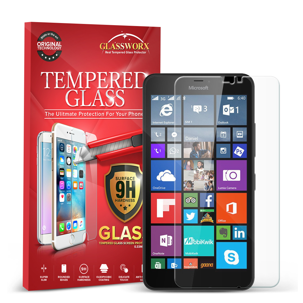 Microsoft Lumia 640 XL GlassWorX HD Clear Tempered Glass Screen Protector