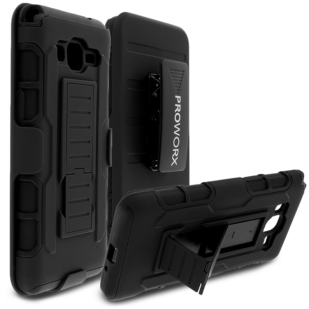 Samsung Galaxy Grand Prime LTE G530 Black ProWorx Heavy Duty Shock Absorption Armor Defender Holster Case Cover With Belt Clip