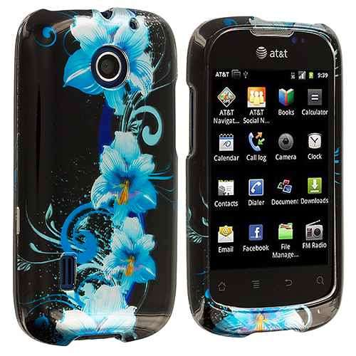 Huawei Fusion U8652 Blue Flowers Design Crystal Hard Case Cover