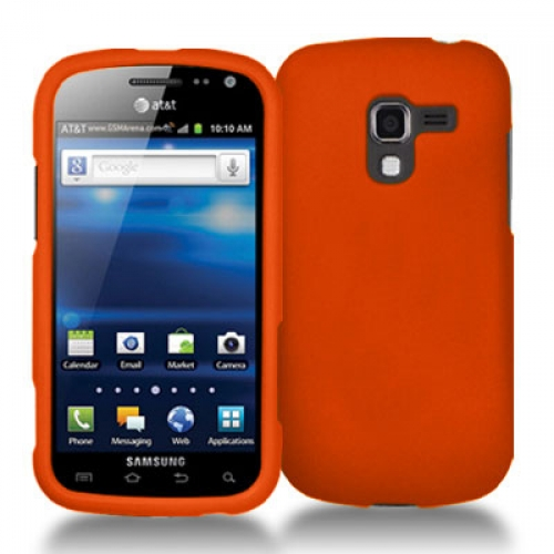 Samsung Exhilarate i577 Orange Hard Rubberized Case Cover