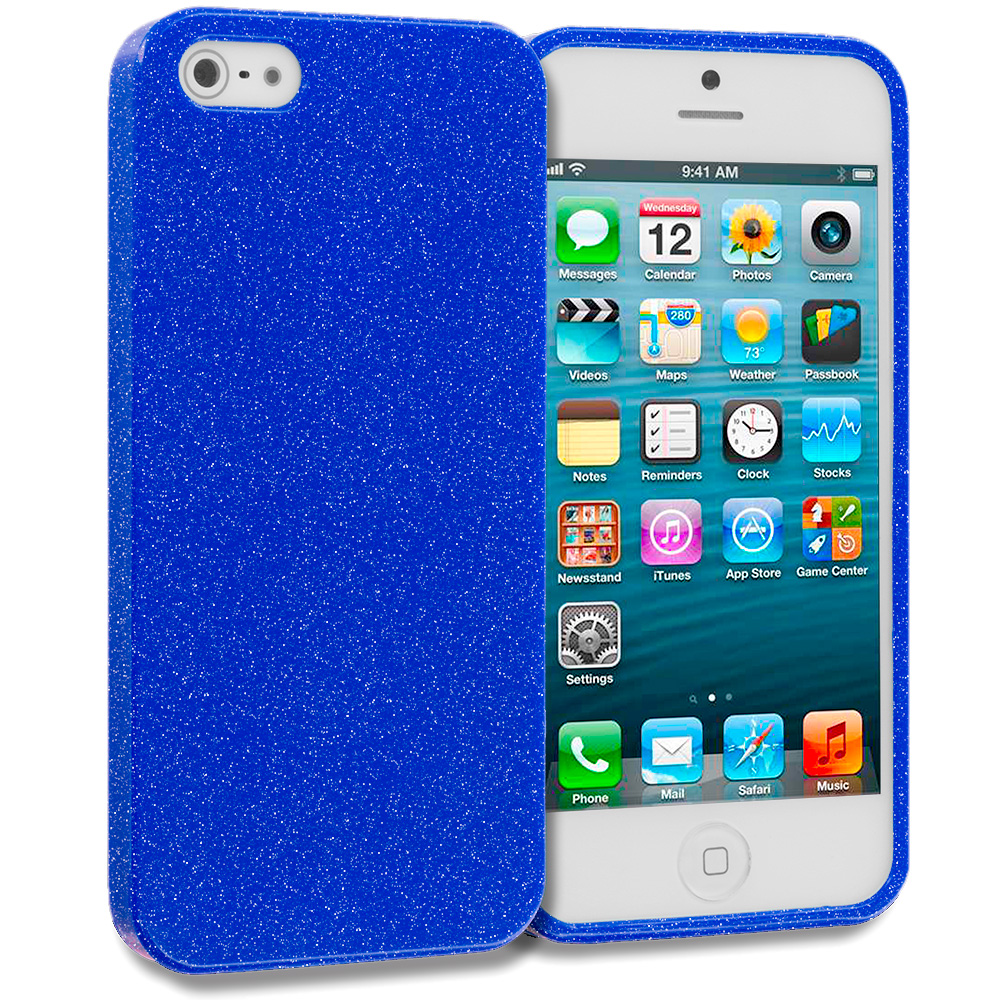 Apple iPhone 5/5S/SE Blue Glitter TPU Rubber Skin Case Cover