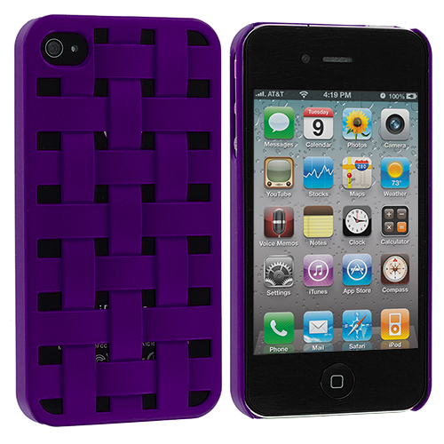 Apple iPhone 4 / 4S 2 in 1 Combo Bundle Pack - Weave Pink Purple Hard Rubberized Back Cover Case : Color Purple Weave