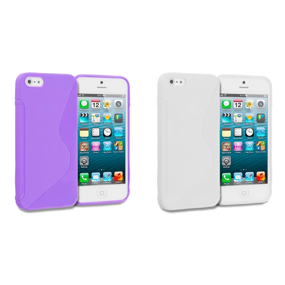 Apple iPhone 5 Combo Pack : Purple S-Line Solid TPU Rubber Skin Case Cover