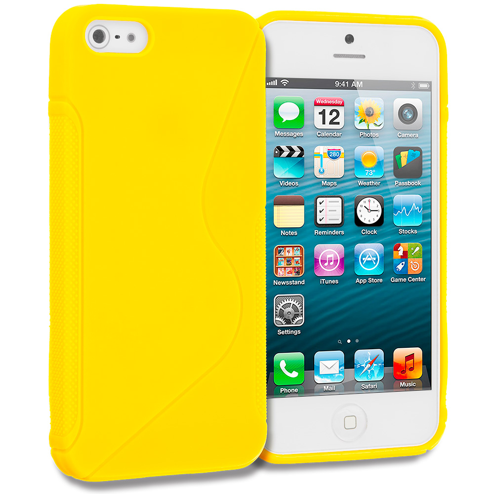 Apple iPhone 5/5S/SE Combo Pack : Green S-Line Solid TPU Rubber Skin Case Cover : Color Yellow S-Line Solid