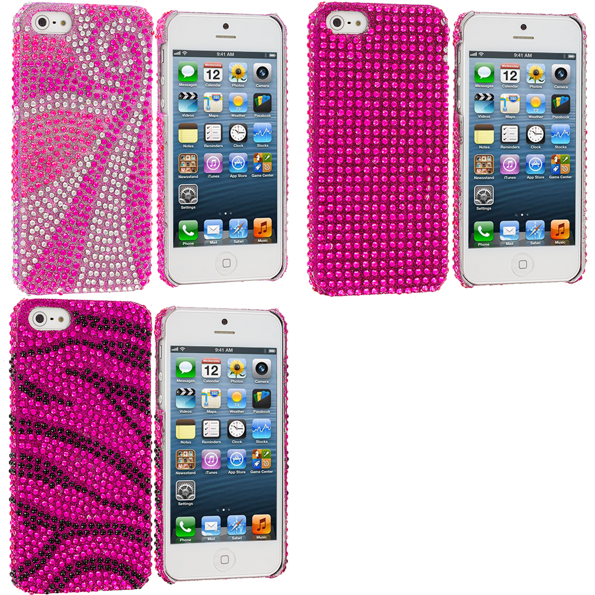 Apple iPhone 5/5S/SE Combo Pack : Phoenix Tail Bling Rhinestone Case Cover