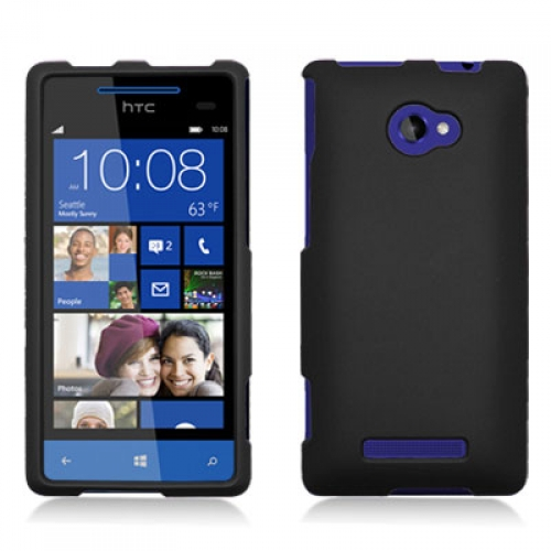 HTC Windows 8X Black Hard Rubberized Case Cover
