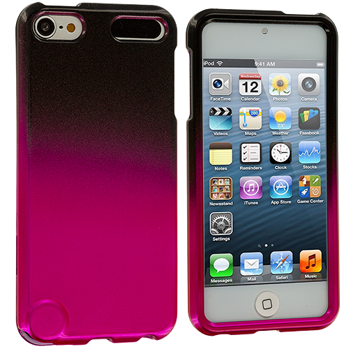 Apple iPod Touch 5th 6th Generation Black / Hot Pink Two-Tone Hard Case Cover